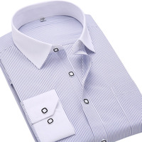 2016 Brand Men Shirt Fit Striped Business Formal Shirt Long Sleeve Mens Dress Shirts Plus Size