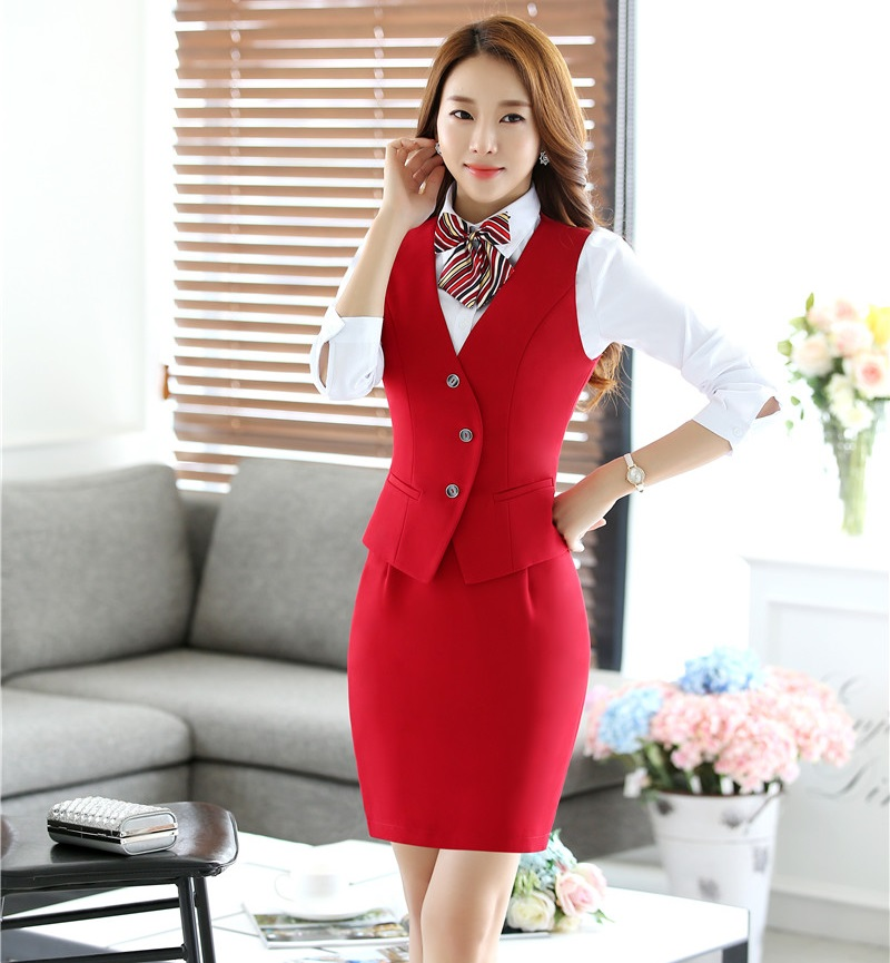 Novelty Red Formal Uniform Design Spring Autumn Ladies Office Work Suits With Vest + Skirt Female Outfits Blazers Sets