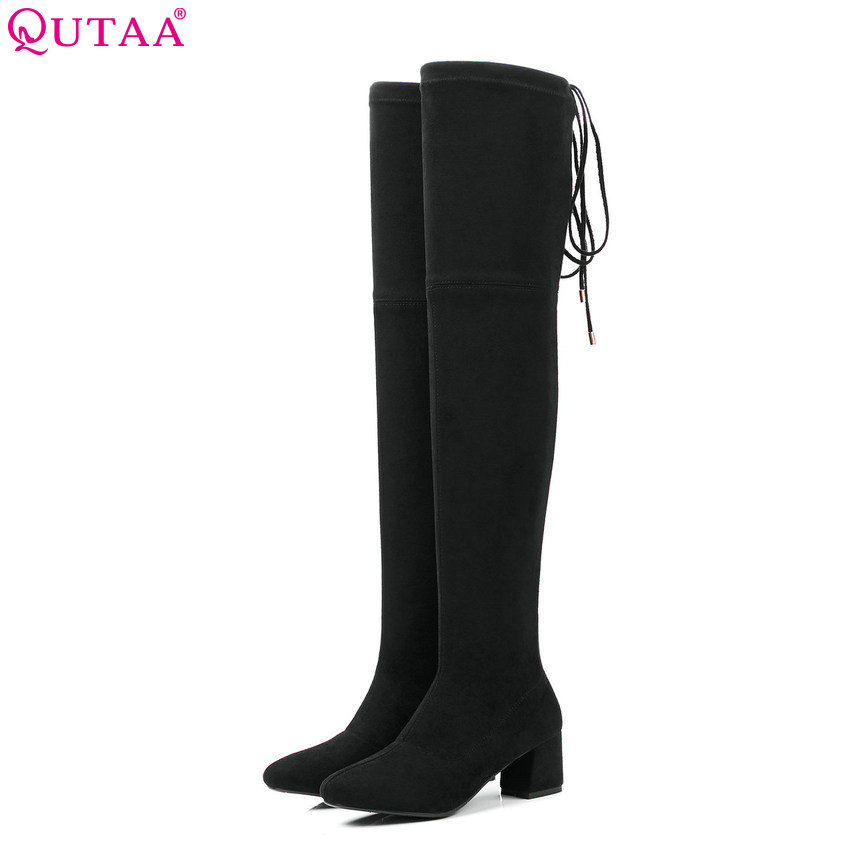 QUTAA 2019 Square Toe Fashion Women Over The Knee High Boots Platform Lace Up All Match Winter Boots Women Boots Big Size 34-43 memunia big size 34 43 over the knee boots for women fashion shoes woman party pu platform boots zip high heels boots female