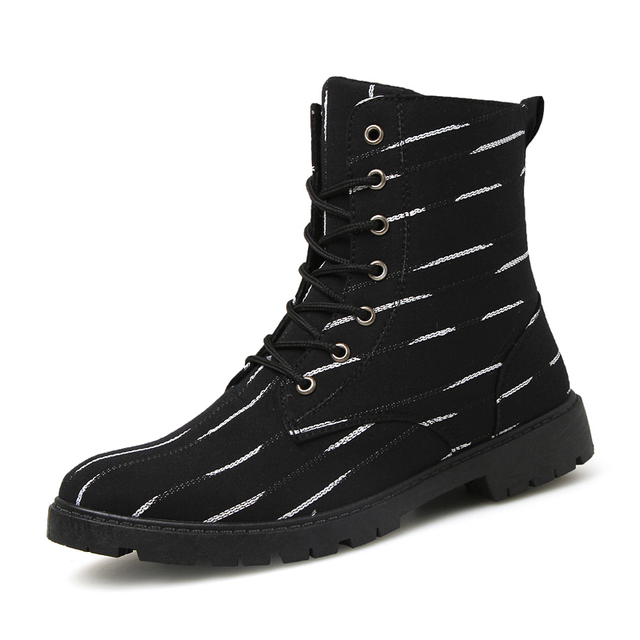 09dfd8e3c1e US $37.99  Black White Color Striped Martian Boots Men Classics Lace Up  High Top Fashion Boots Male Spring Autumn Low Heel Botas Boots Man-in Basic  ...