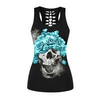 Punk Blue Flowers Skull Tank Tops Black Digital Print Vest Summer Sleeveless 3 Undershirt Tops Close