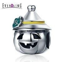 Everbling Đồ Trang Sức Halloween Pumpkin 100% 925 Sterling Silver Charm Hạt Fit Charms Châu Âu Bracelet Y