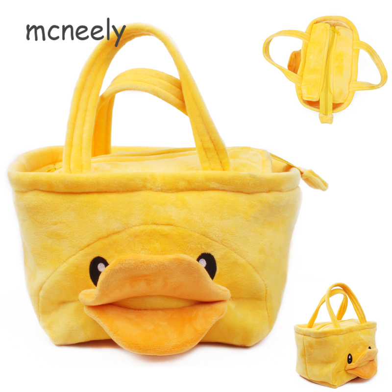 Mcneely Yellow duck Flannel handbag boys and girls like lunch bag kids kettle bag Student stationery bags lovely plush gift bags