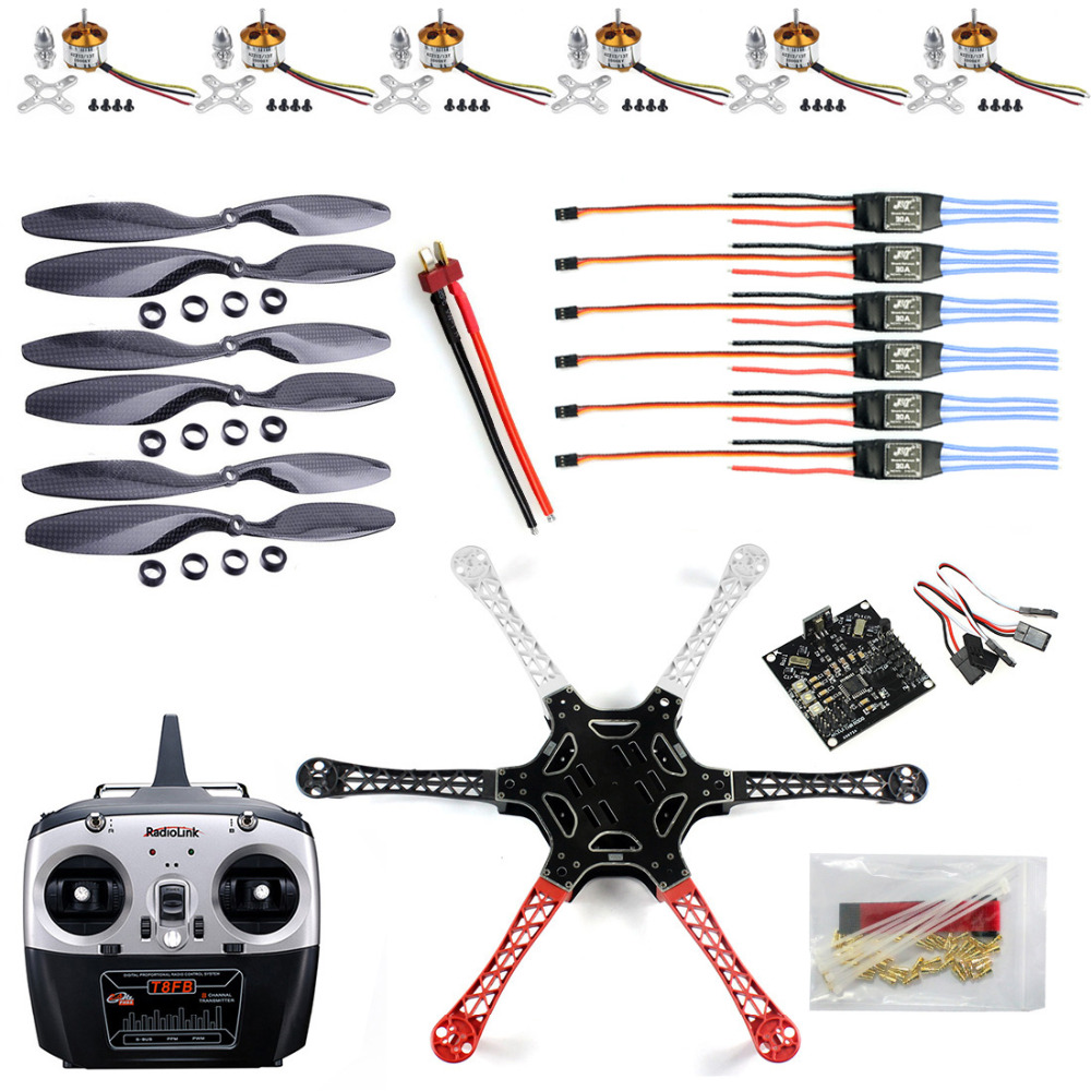 F550 Drone Heli FlameWheel Kit With KK 2.3 Flight Controller ESC Motor Carbon Fiber Propellers + RadioLink 6CH TX RX F05114-JF550 Drone Heli FlameWheel Kit With KK 2.3 Flight Controller ESC Motor Carbon Fiber Propellers + RadioLink 6CH TX RX F05114-J