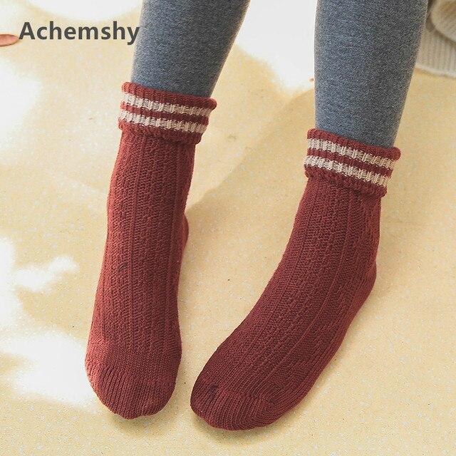 Autumn Winter Kids Infant Socks Folded Striped Thick Needle Cotton Wool  Socks Children Boys Girls Ankle Socks 1-10 T a0a01e6e6d85