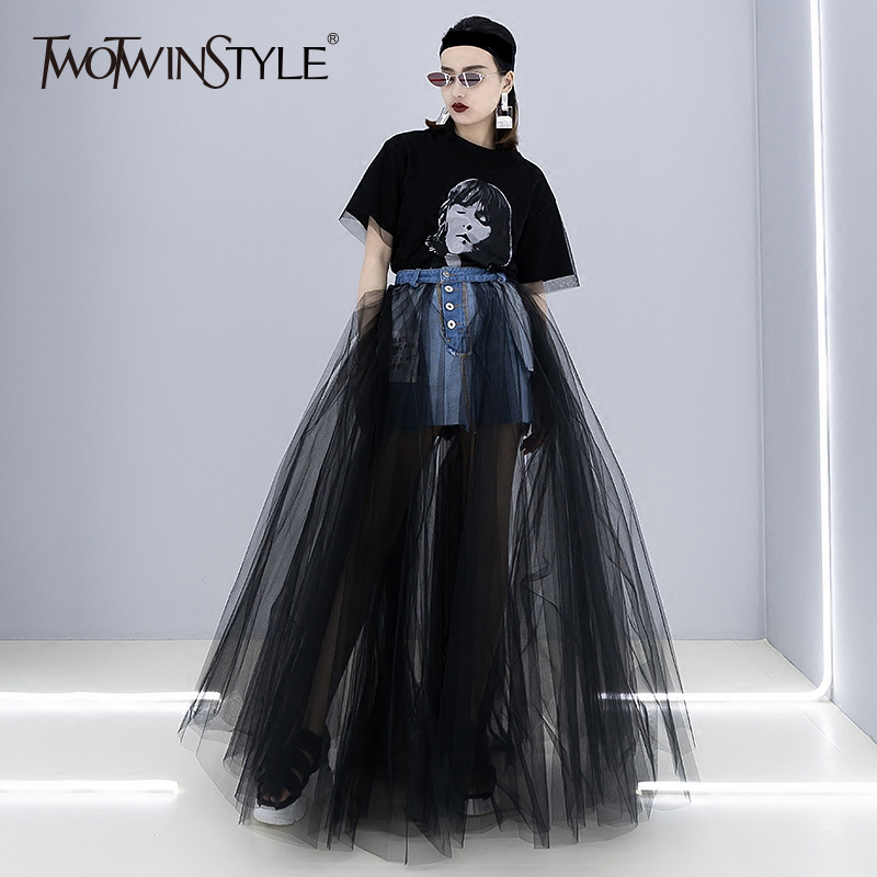 TWOTWINSYLE Denim Patchwork Mesh Skirt For Women High Waist Bodycon Sexy Long Tutu Skirts 2019 Female