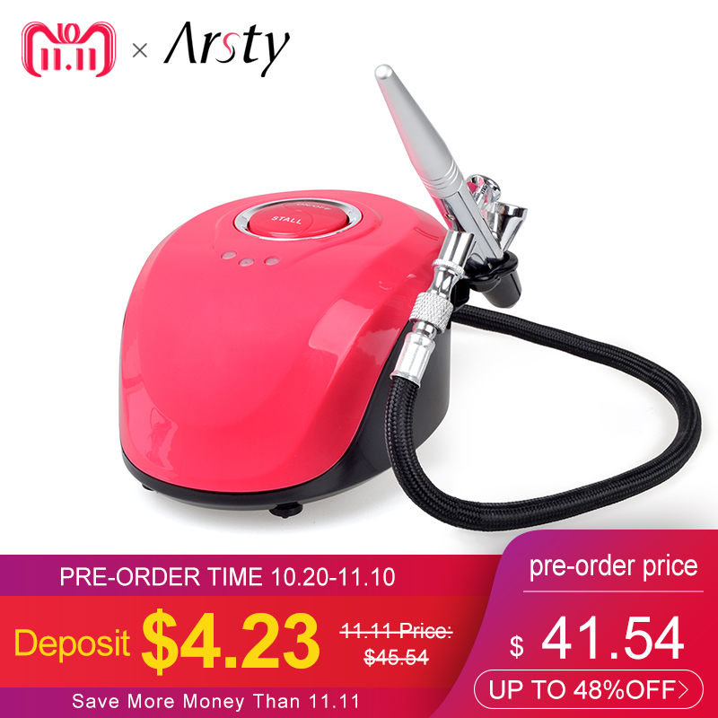 Arsty Airbrush Compressor Kit Portable Airbrush Tattoo 3 Speeds for Body Paint/Nail Art/Makeup/Airbrush with Compressor for Nail