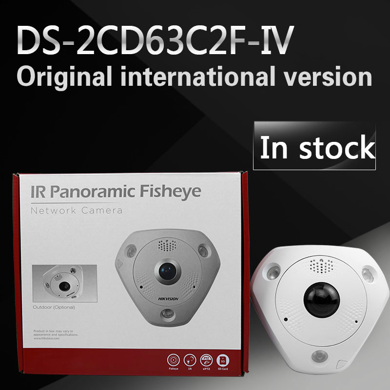 fast free shipping English Version 12MP Fisheye Network Camera , 360 view angle ,DS-2CD63C2F-IV in stock international english version ds 2cd2942f is english version 4mp compact fisheye network cctv camera fisheye
