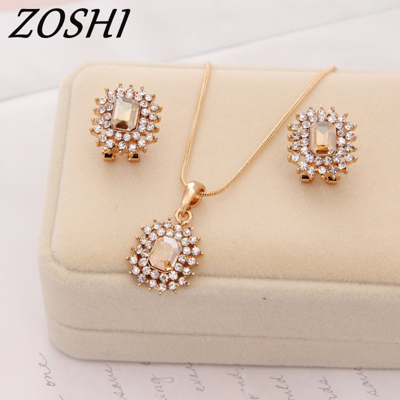 ZOSHI Wholesale New Fashion Austria Crystal Earrings Necklace Sets Gold Color Chain Women Bridal Wedding rhinestone