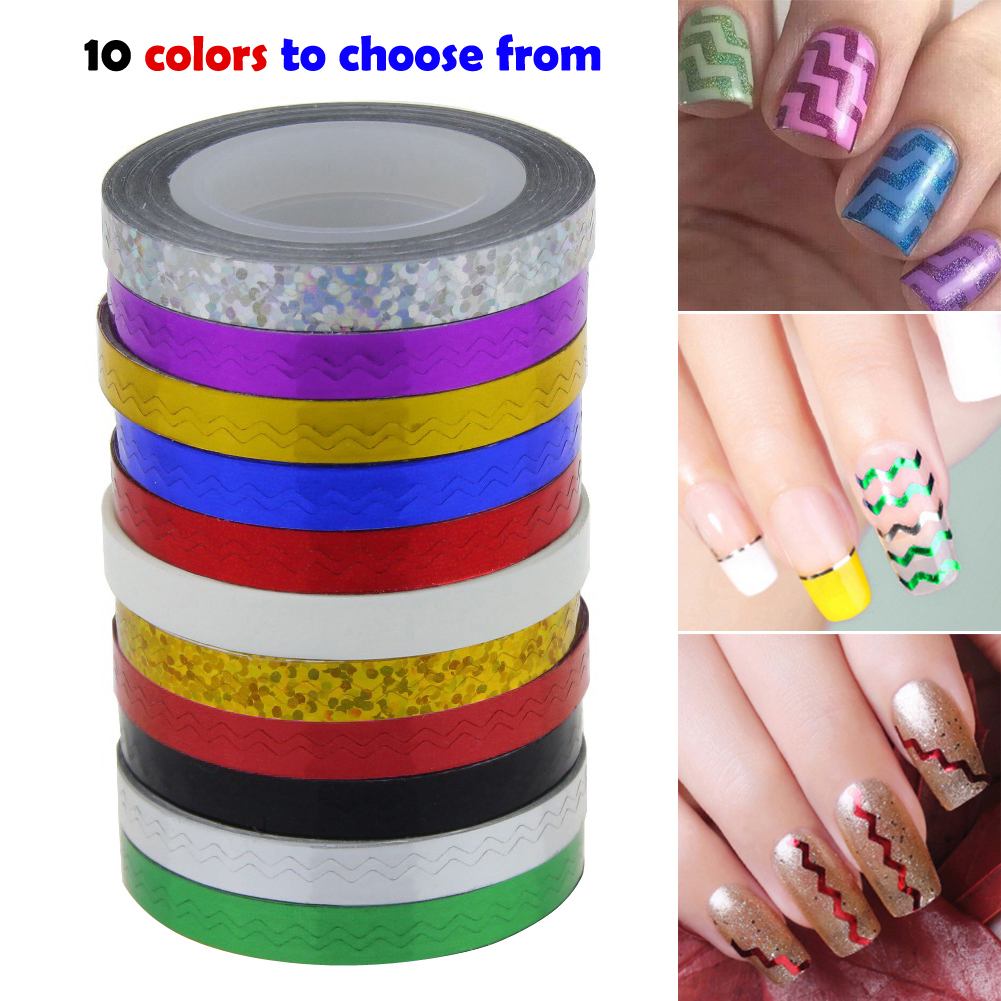 Professional Nail Art Set 30pcs Colors Rolls Striping Tape Line Decoration Stickers 12 Color Rhinestones 45 Sheets