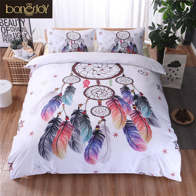 Bonenjoy White Bedding Set King Size Quilt Cover Feather Dream Catcher  Print For Girls Used Single