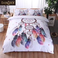 Bonenjoy White Bedding Set King Size Quilt Cover Feather Print For Girls Used Single Bed Linen Duvet Cover Queen