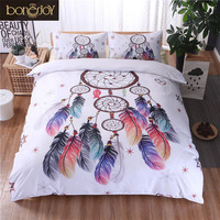 Bonenjoy White Bedding Set King Size Quilt Cover Feather Dream catcher Print For Girls Used Single Bed Linen Duvet Cover Queen
