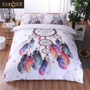Image 1 - Bonenjoy biały pościel ustawić duży rozmiar kapa na kołdrę nadruk z piór dla dziewczyn używane łóżko pojedyncze pościel kołdra okładka królowej