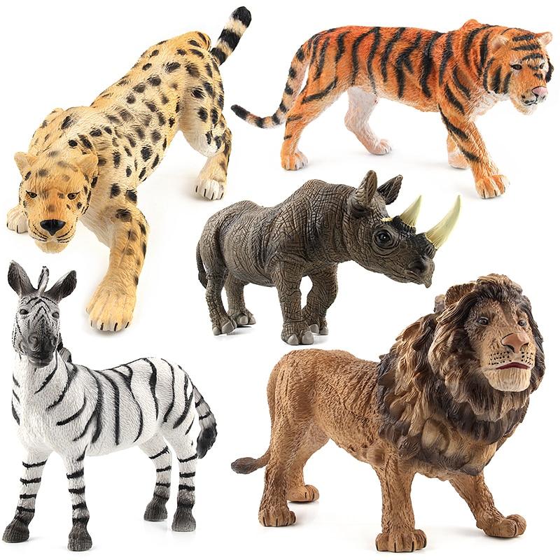 1a79ccfe17a0 8 figuras de plástico de animales de zoológico tigre león cebra ...