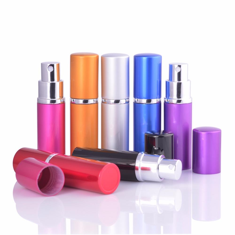Mub venda quente mini portátil para viagens recarregáveis frasco de perfume com pulverizador de alumínio & recipientes cosméticos vazios com atomizador