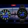 Marca TVG atualizado QUENTE Dos Homens Negros de Aço Inoxidável Relógio Moda Binário Azul LED Ponteiro Mens militares Relógios À Prova D' Água 5ATM