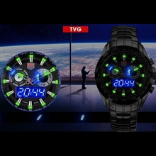 Updated HOT Brand TVG Stainless Steel Black Men's Clock Fashion Blue Binary LED Pointer Mens militar