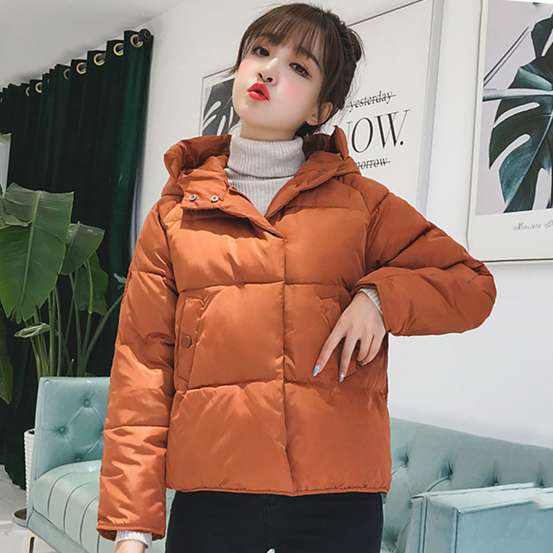 2019 Korean Style Women Winter Jacket Hooded Breasted Buttons Cotton Padded Coat Short Outwear   Parka