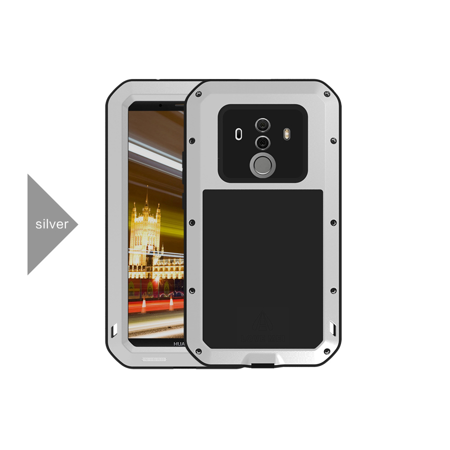 Love Mei Brand Case For Huawei Mate 10 Pro Metal Shockproof Phone Cover For Huawei Mate 10 Full Body Anti Fall Armor Rugged Case in Fitted Cases from Cellphones Telecommunications