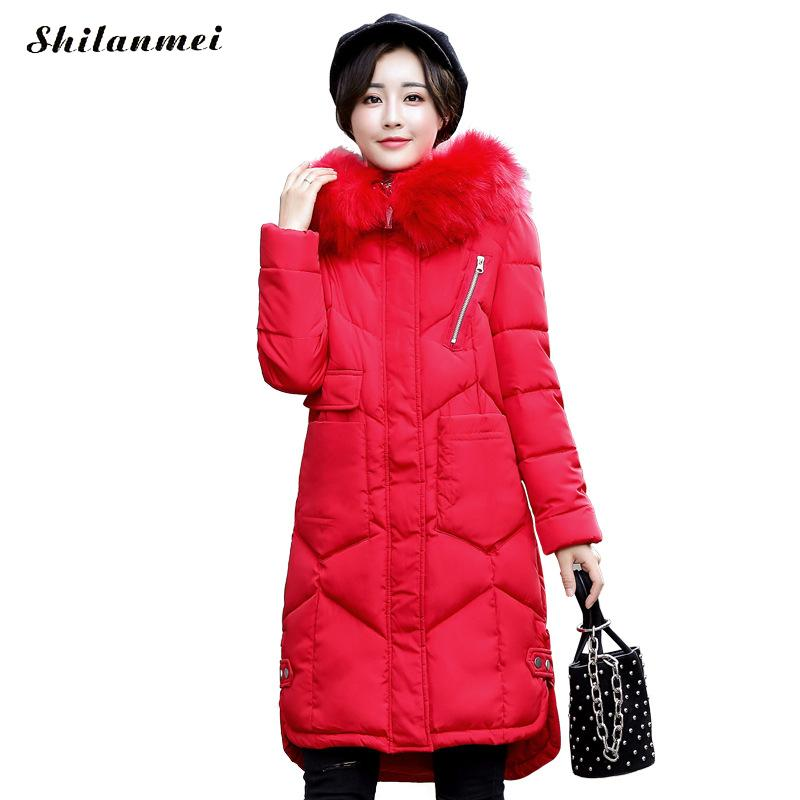 Warn Snow Wear 2017 Winter Women Jacket Cotton Coat Fur Collar Parka High Quality Fashion Zipper Long Jacket Thick Femme Outwear snow wear 2017 high quality winter women jacket cotton coats fur collar hooded parkas fashion long thick femme outwear cm1346