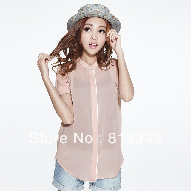 FREE SHIPPING 2013 NEW VANCL Women Blouse Faye Stand Collar Chiffon Fashionable Shirt Brief Comfortable Elegant Wear Nude/White