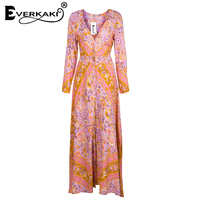 Everkaki Women Summer Dress Boho Pattern Print Dress Long Sleeve A Line High Waist Maxi Dress