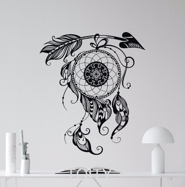 dream catcher wall sticker feathers art native indian amulet vinyl
