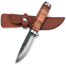 Sharp Fixed blade Hunting Knife Handmade forged Damascus Steel camping knifeblade 58HRC leather handle survival Tactical tool