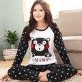 Envío gratis XXXXL TOPS CONJUNTOS de marca juegos de los pijamas de algodón de manga larga de la rebeca de primavera y otoño más el tamaño de las mujeres ropa de dormir 100 kg