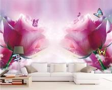 Купить с кэшбэком beibehang Custom photo wallpaper 3D rose butterfly mural wallpaper living room bedroom sofa Background wall decoration wallpaper