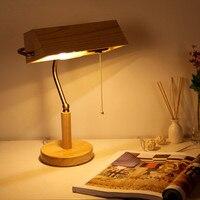 2016 חדש מדינה האמריקנית מחקר סלון אורות חדר שינה שולחן ליד מיטת מנורת שולחן עץ רטרו אירופאית משלוח חינם