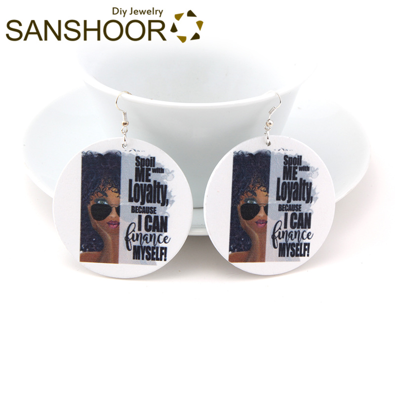 Earrings Sanshoor Engraved Afrocentric Ethnic Wood Drop Earrings Black Educated Queen Natural Hair For Indians Americans Women Gift 1pair