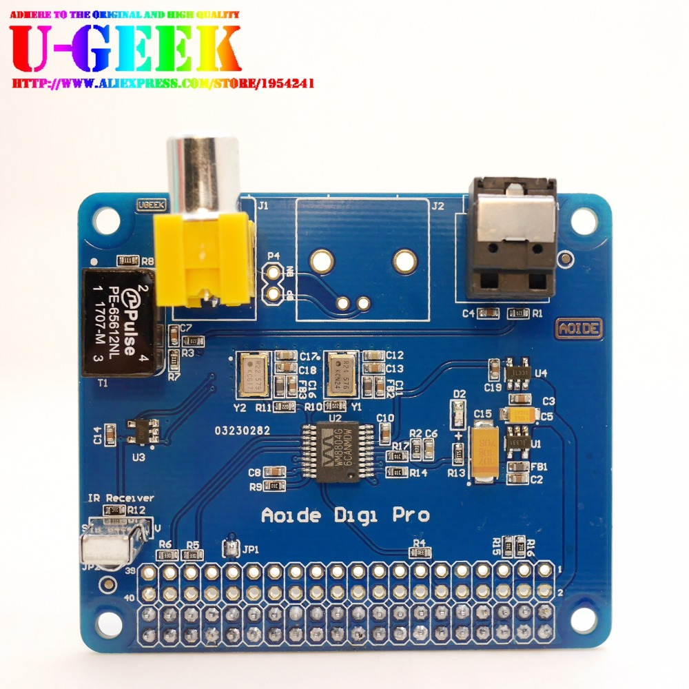 цена на UGEEK AOIDE HIFI DiGi Pro Digital Sound Card for Raspberry pi 3 Model B|Two oscillators|I2S SPDIF Optical Fiber|44.1&48kHz|3B+3B