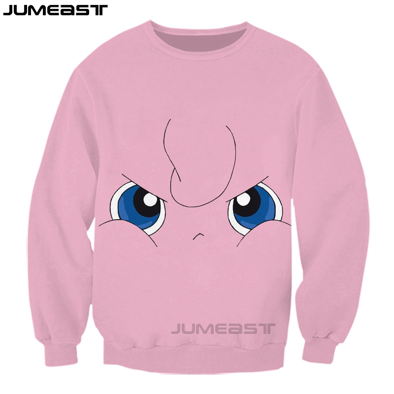 Jumeast Brand New Arrival Men/Women 3D printed Jigglypuff Long Sleeves Casual Pokemon Sports Tops Tees Sweatshirt