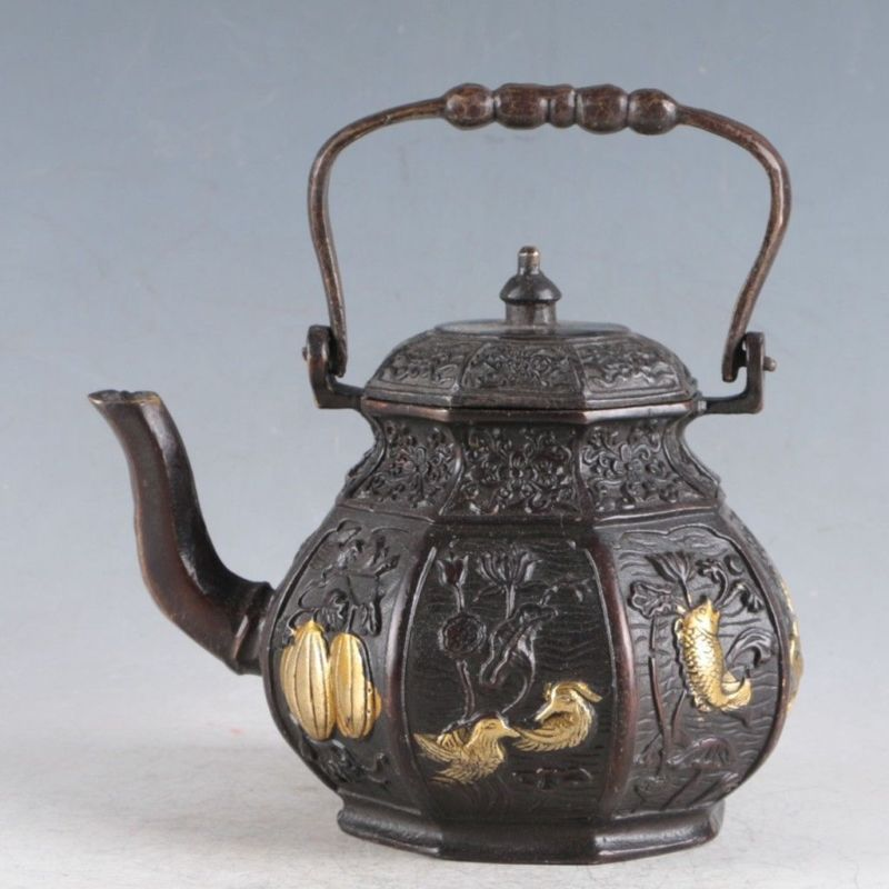Chinese Gilt Copper Teapot  Made During The Daqing Qianlong Period