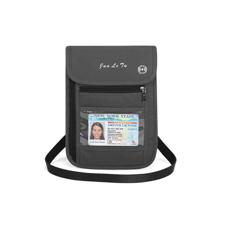 dea0d7c507e7 RFID Blocking Travel Multifunction Neck Pouch Passport Holder Travel ...