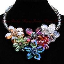 Alta Calidad Del Otoño Del Verano Venta Caliente Coloful Flor Colgante de Cristal Collar de 2014 Unique Luxury Jewelry Design Envío Gratis