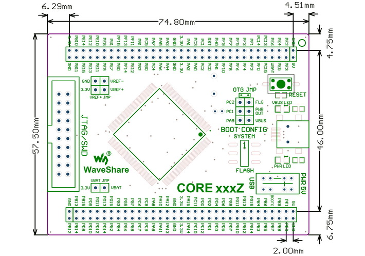 STM32 MCU core board dimensions