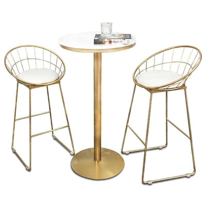 Creative Bar Chair Table Simple Iron Art Multi-function Household High Stool With Cushion Coffee Shop Bar Stool And Table