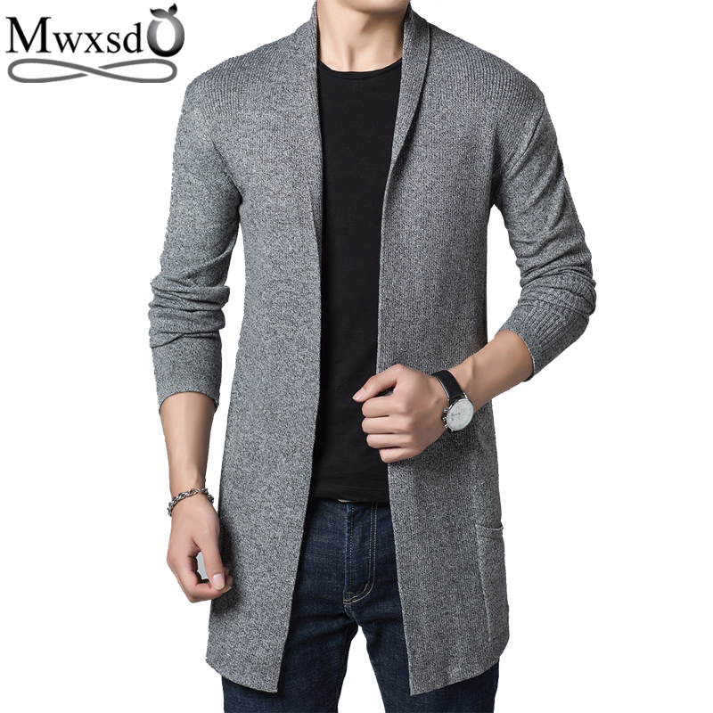 Mwxsd Casual Mens Winter Long Cardigan Sweaters Men Knit Korean Soft Sweater Jacket Jersey Pull Homme Male Christmas Sweater