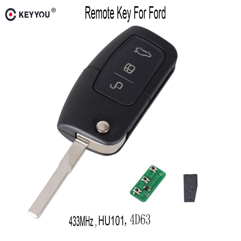 KEYYOU 433 Mhz 4D63 Chip de 3 botones de Control remoto clave para Ford Fiesta 2013 Fob con HU101 hoja
