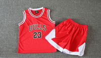 Kid Sports Jersey Bulls 23 Basketball Jersey Kids Fabric Embroidery Basketball Children Basketball Suit Boys Jersey