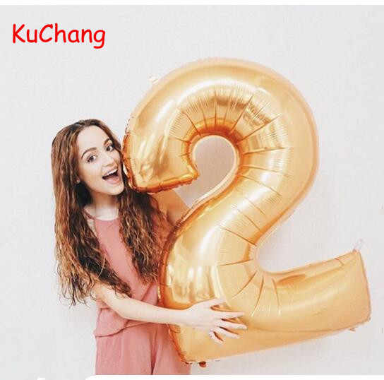 40inch Rose Gold Silver Number Foil Balloons Digital 0-9 Balloon Birthday Party Decor Number Helium Classic toys Supplies ball
