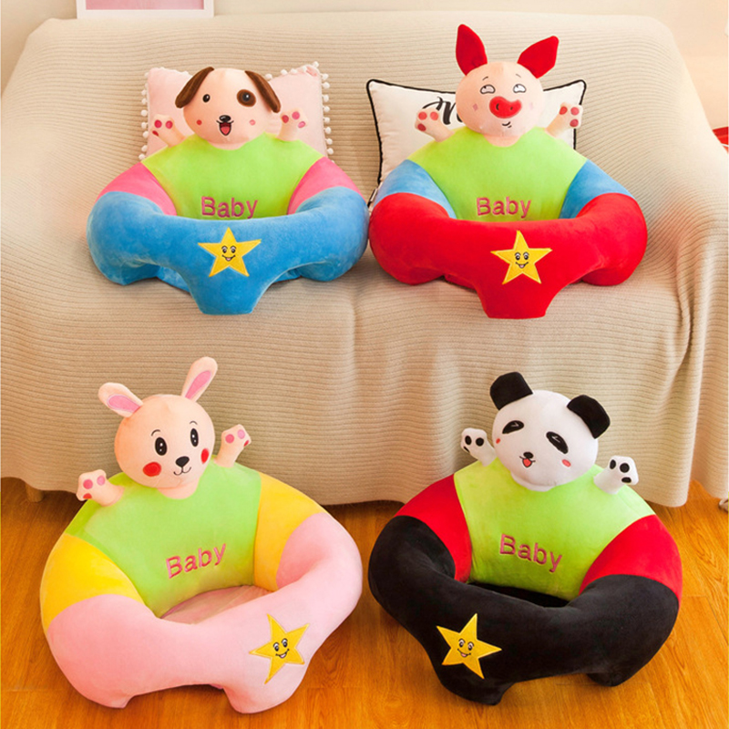 Cute Cartoon Baby Seat Sofa Skin Support Soft Baby Sofa Cover Plush Learning Chair Washable Cover With Zipper No Cotton Filling