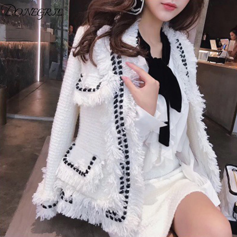 Spring and autumn new white tweed jacket female 2019 ladies temperament handmade tassel Slim short coat