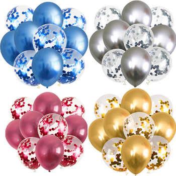10 piezas Globos metálicos de 12 pulgadas Globos de confeti dorados Globos cromados decoraciones de fiesta de cumpleaños decoración de boda para adultos Globos