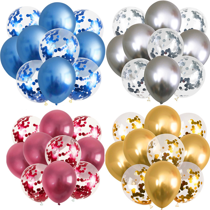 10Pcs 12inch Metallic Balloons Gold Confetti Chrome Birthday Party Decorations Adult Wedding Decor Globos