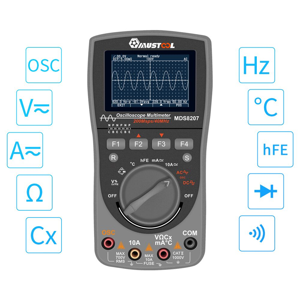 Multímetro de osciloscopio MUSTOOL MDS8207 inteligente 2in1 Digital 40MHz 200 Msps/S 6000 cuenta prueba de osciloscopio verdadero RMS