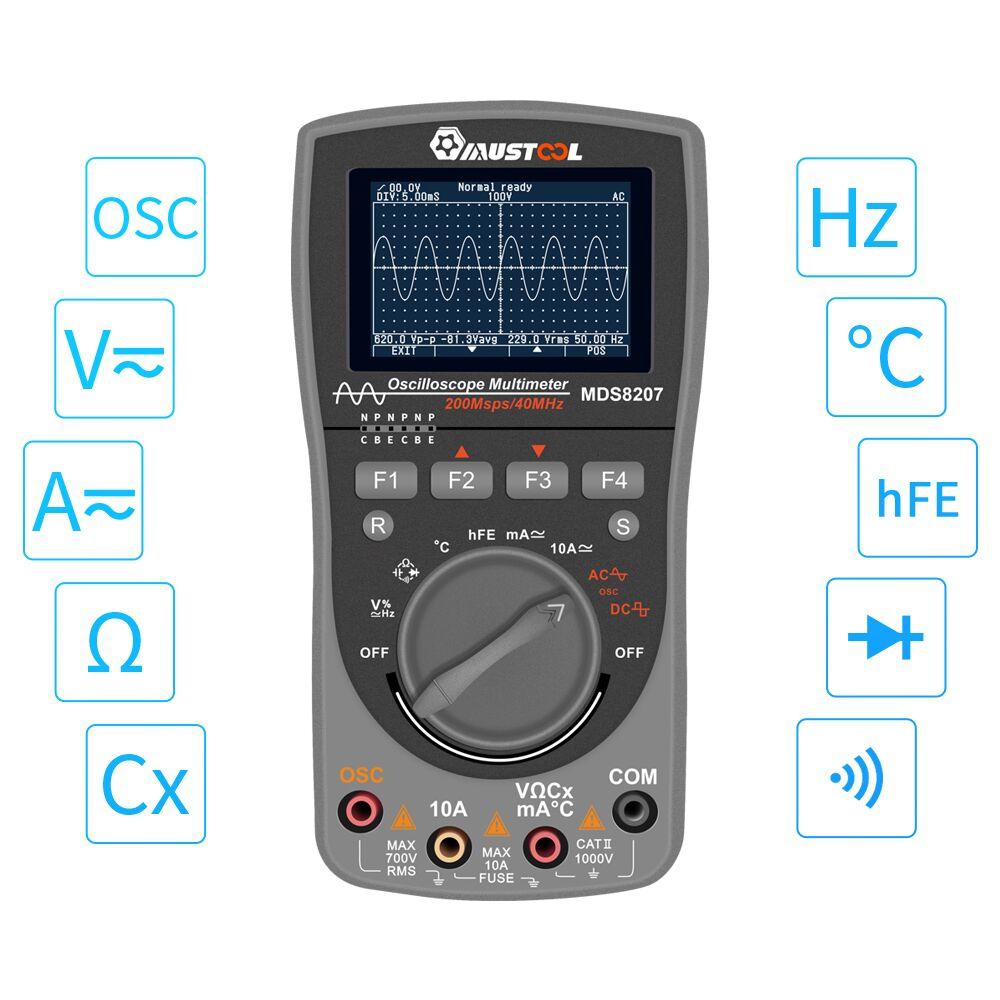 Multimètre de l'oscilloscope MDS8207 Intelligent 2in1 numérique 40MHz 200 Msps/S amélioré 6000 compte vrai Test de l'oscilloscope RMS